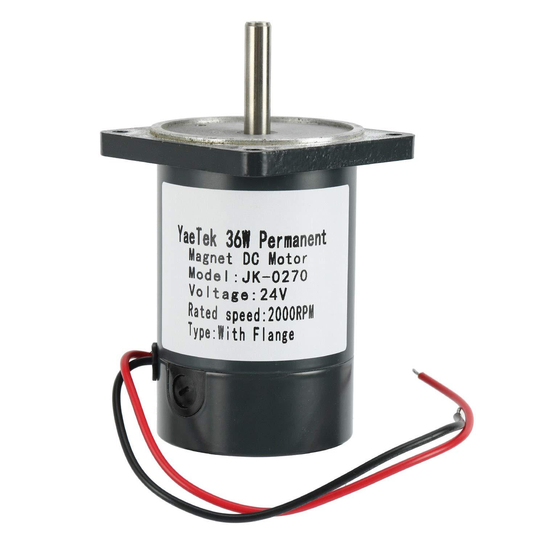 YaeTek 36W Permanent Magnet DC Motor 2000-4000RPM High Speed Large Torque Motor 12V/24V (24V 2000RPM with flange)