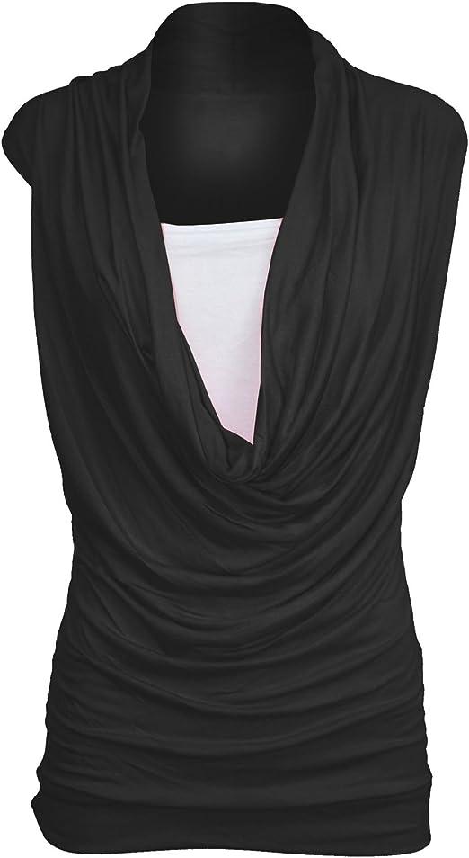Womens Plus Size Black Sleeveless Ruched Neckline Plain Long Vest T Shirt Top