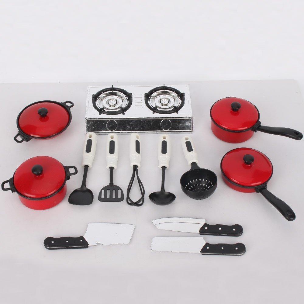 dcolor juego de utensilios de cocina ollas y sartenes para ninos juguetes utensilios de cocina de simulacion amazones juguetes y juegos