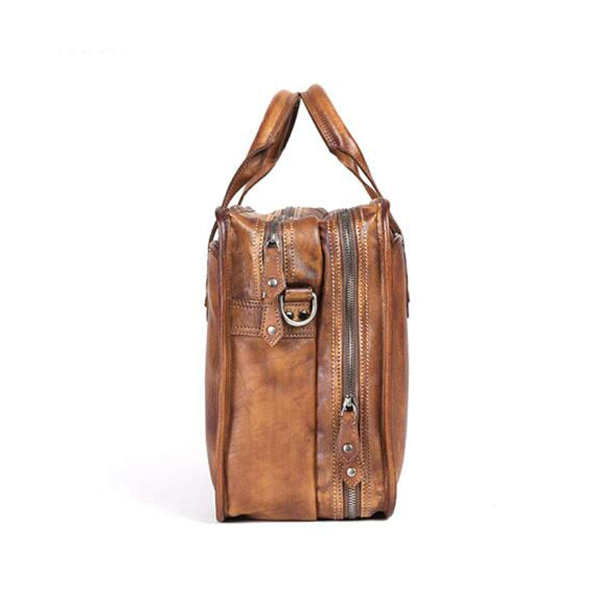 Easy to use Jielongtongxun Briefcase,Vintage Leather Handbag Mens Computer Bag