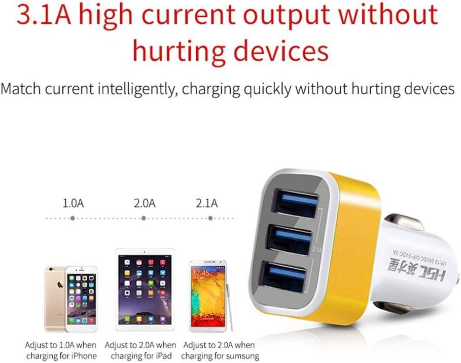 Mouchao4762 HSC HSC-300 3.1A Trois Ports USB Chargeur de Voiture /à Charge Rapide pour Tablette pour Smartphone Blanc et Or