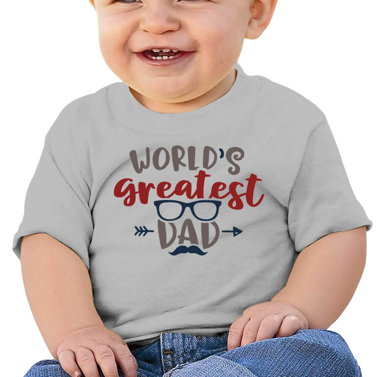 JVNSS Worlds Greatest Dad Baby T-Shirt Kids Cotton T Shirts Fashion Graphic Tees for 6M-2T Baby