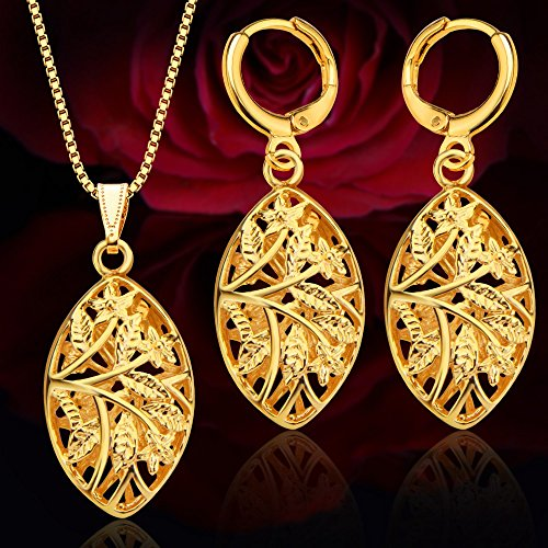Unique Hollow Out Jewelry Set women Pendants Necklaces Earrings 18K Gold Plated India Jewelry Sets Gifts S20137