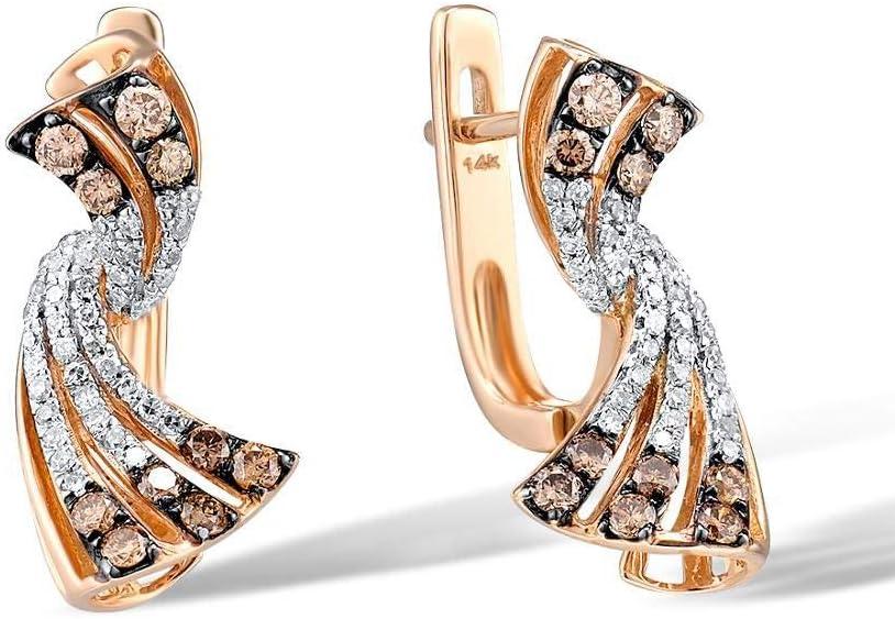 DEYUOIJ 14K 585 Pendientes de Oro Rosa para Dama Pendientes de Diamantes Blancos y Marrones Brillantes y glamorosos Compromiso Joyería Fina