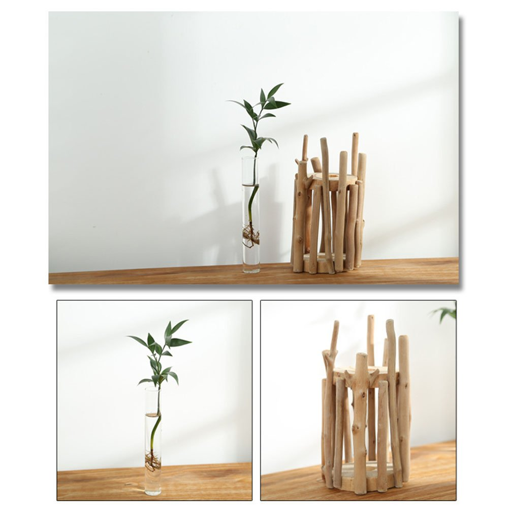 Anthree Vases for Decor Tall, Wood Vase Round for Centerpieces Clear Glass Vase for Flower by Anthree (Image #2)