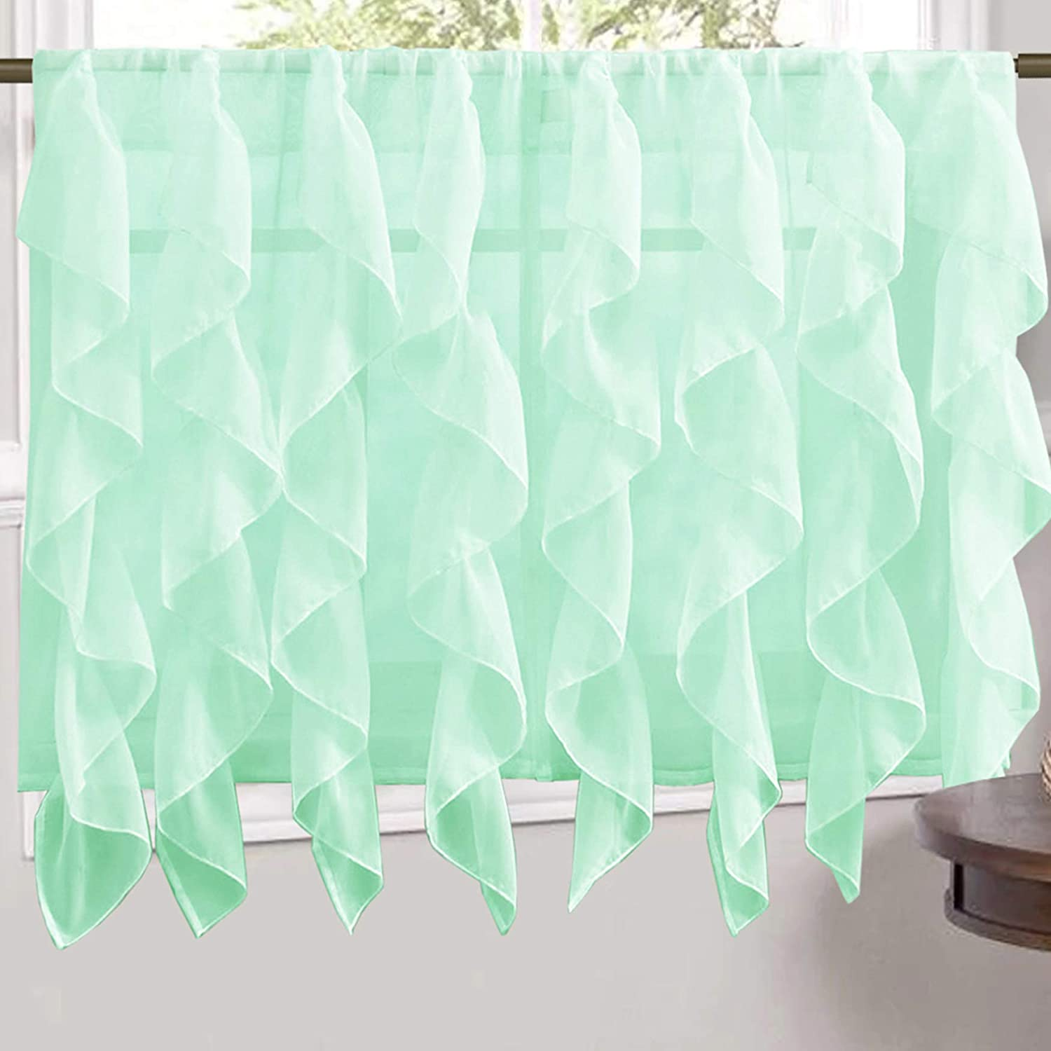 "Sweet Home Collection Veritcal Kitchen Curtain Sheer Cascading Ruffle Waterfall Window Treatment - Choice of Valance, 24"" or 36"" Teir, and Kit Tier Pair Only, Mint"