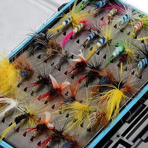 XZANTE 64 St/ücke Trockenfliegen Bass Lachsforellen Fliegen Nymphe Und Streamer Fliegenfischen Fliegen Kit Wasserdichte Fliegenbox F/ür Forelle Fliegenfischen Fliegen
