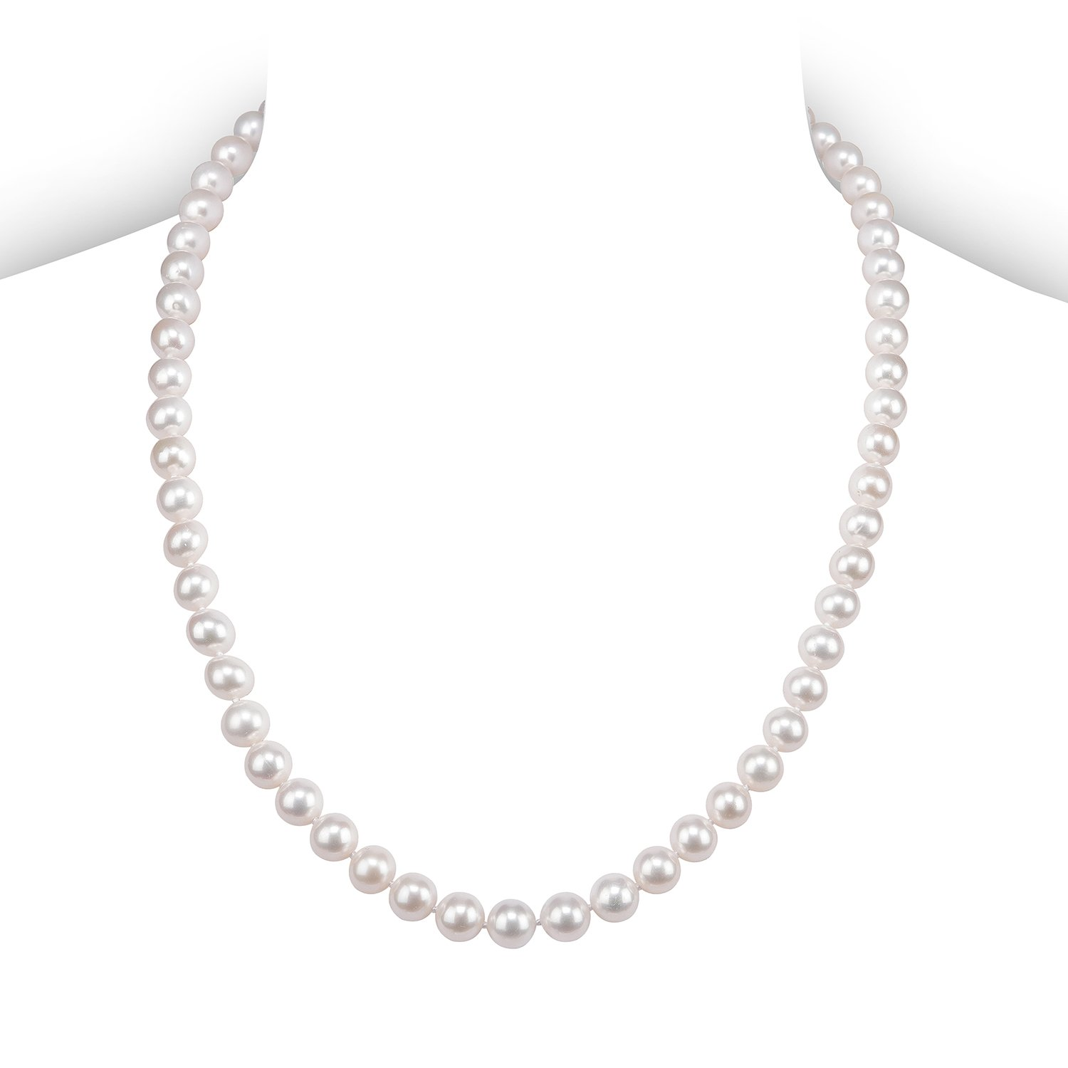 PAVOI Sterling Silver White Freshwater Cultured Pearl Necklace (20, 9mm)