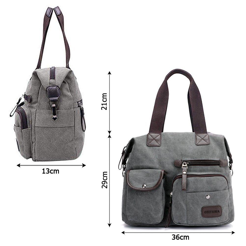 Women's Canvas Tote Bag Top Handle Bags Shoulder Handbag Tote Shopper Handbag crossbody bags (Gray) by Greatbuy-US (Image #3)