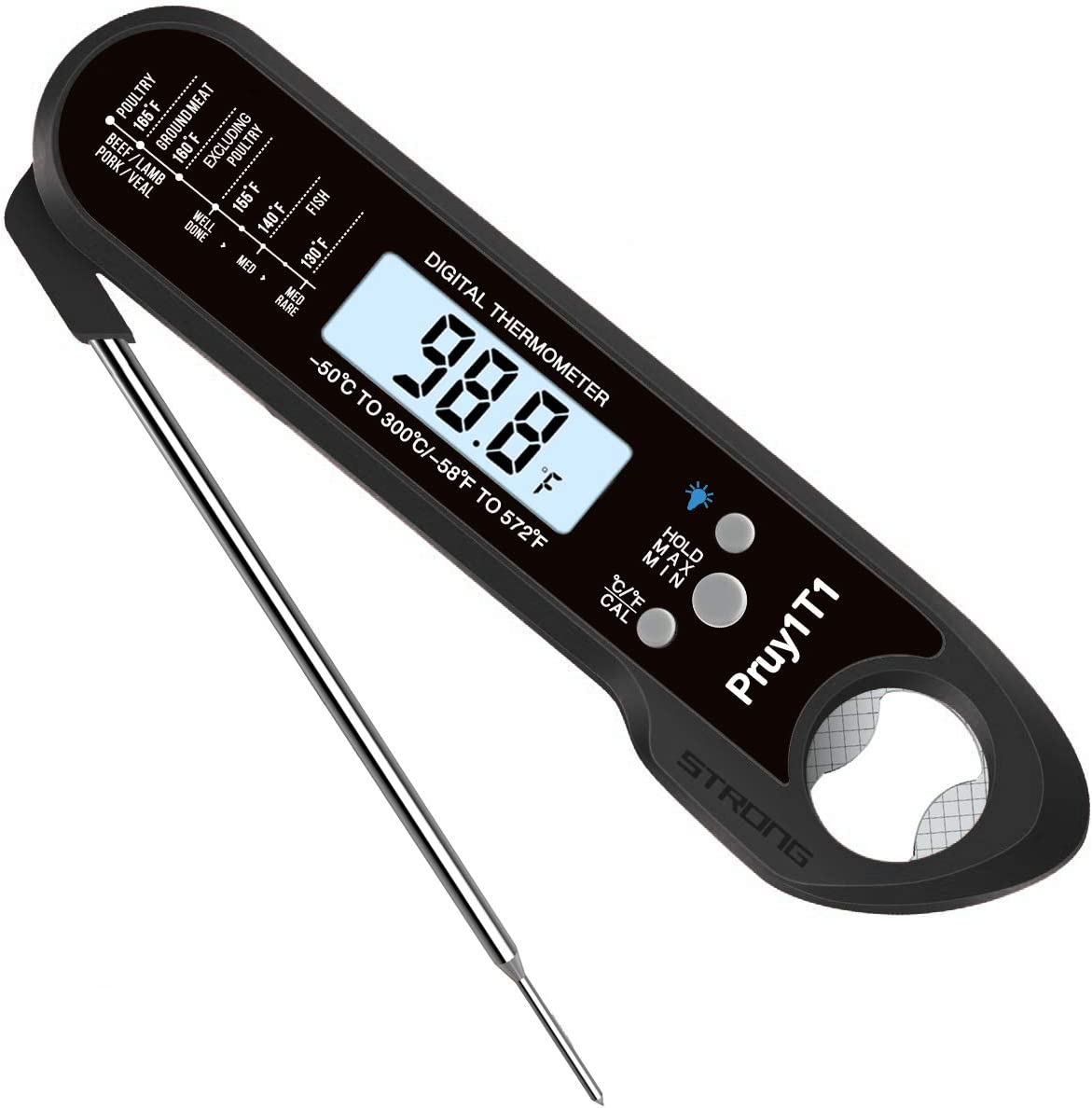 Digital Instant Read Meat Thermometer,Kitchen Cooking Candy Food Thermometers with Backlight & Calibration Bottle Opener, Best Waterproof Ultra Fast Kitchen Thermometer for Cooking BBQ Smoker Chefs