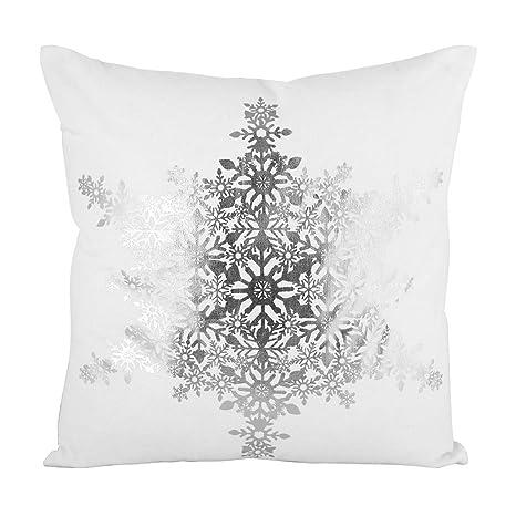 Dibor - Cojín de Navidad, 100% algodón, Color Gris y Blanco ...