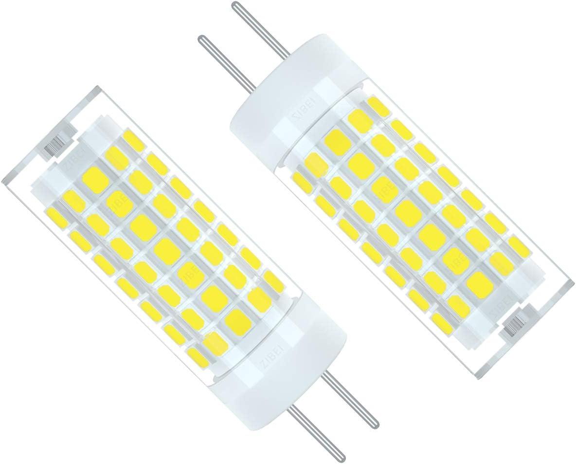 ZIBEI GY6.35/G6.35 Bombillas LED 6W Blanco Frío 6000K,Equivalente 75W G6.35 de halógeno,90-265V,ángulo de haz de 360 grados(No regulable, 2 piezas)