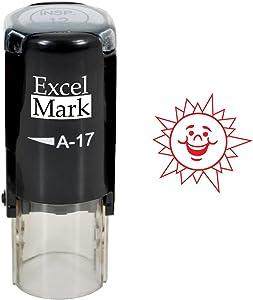 Round Teacher Stamp - Happy Sun - RED Ink