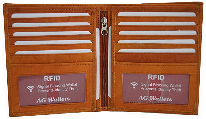 908ae82f35fb AG Wallets Men's RFID Cow Leather European Bifold Wallet Hipster 2 ID  Windows Tan