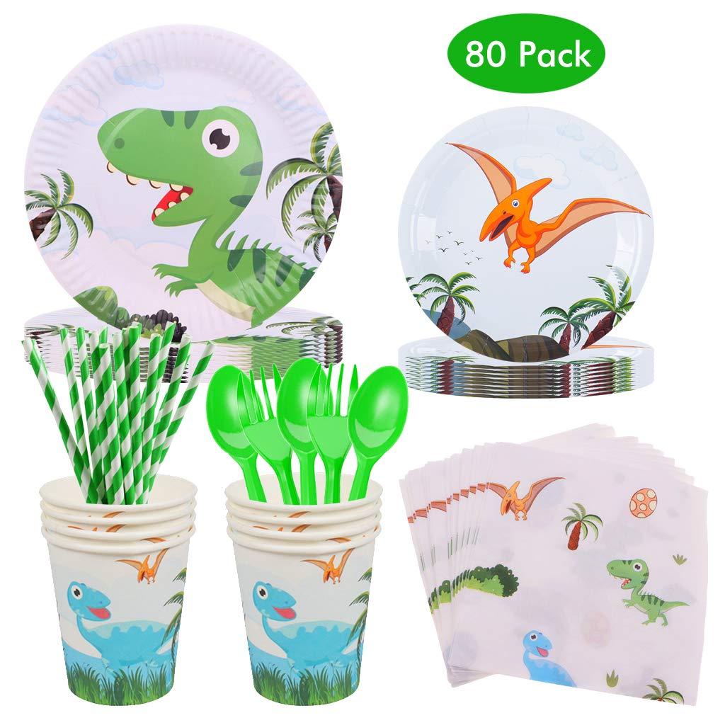 Vaisselle Jetable pour Dinosaures /à Th/ème Gobelet en Papier Serviette en Papier Paille Fourchette Cuill/ère pour Anniversaire Baby Shower Jungel Party Tropical Vaisselle jetable pour 10 convives