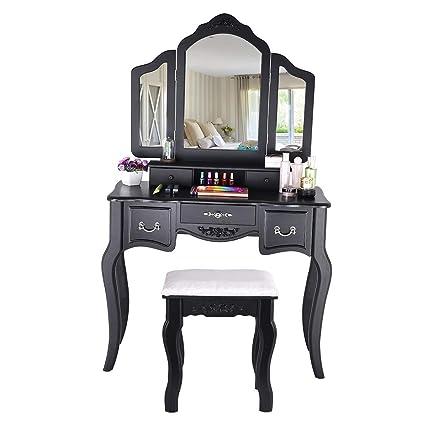 Juesi Makeup Vanity Table w/Tri-Folding Mirror, Wood ...