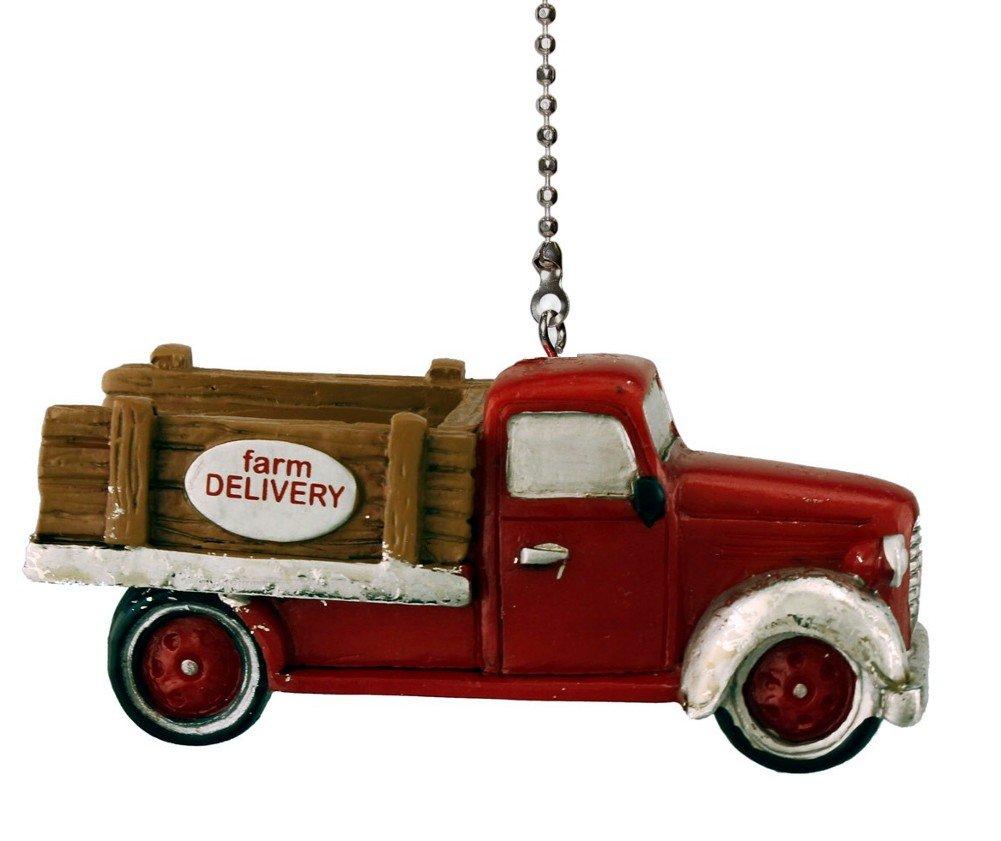Vintage Red Farm Truck Fan Pull