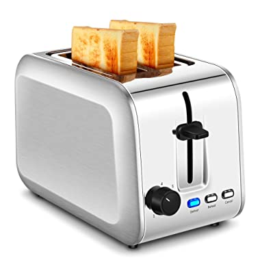 Toaster 2 Slice, CUSINAID Compact Stainless Steel Toaster Wide Slots with 7 Bread Browning Settings, REHEAT/DEFROST/CANCEL Function, Silver