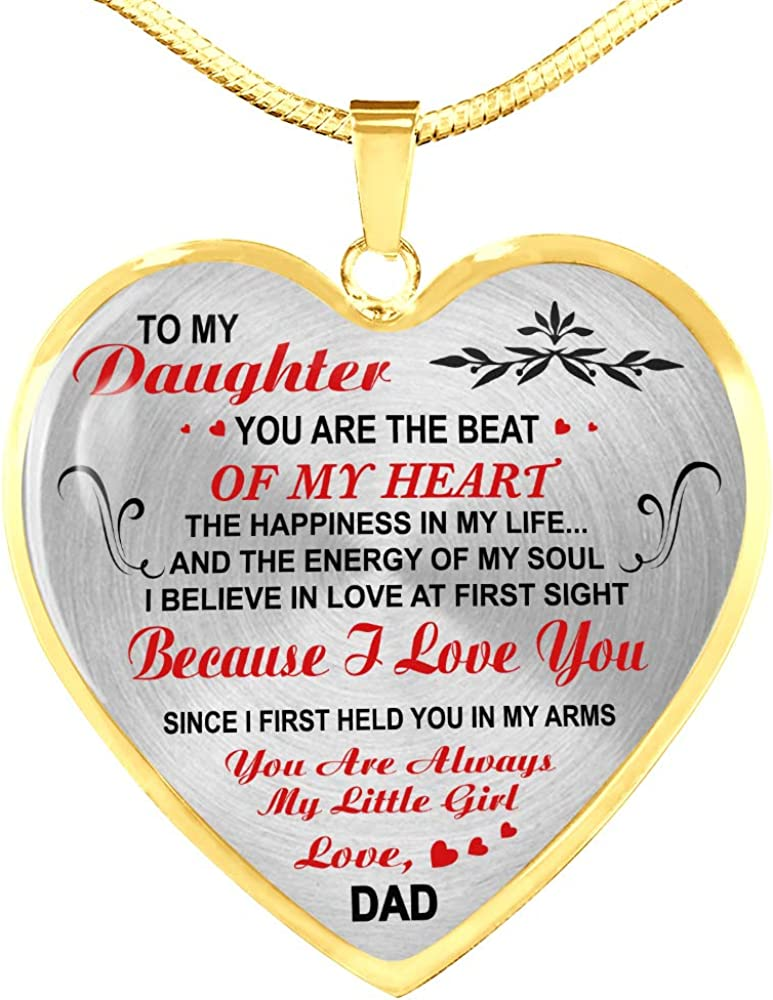 Father and Daughter Necklace Heart Pendant to My Daughter Necklace Love Dad ZEN DEAL Gold Heart Pendant