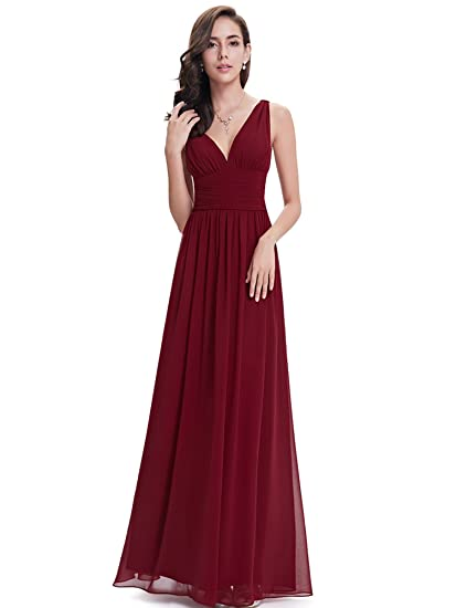 Ever Pretty Womens Fashion V Neck Long Formal Prom Party Evening Dress Gown Burgundy 16 UK