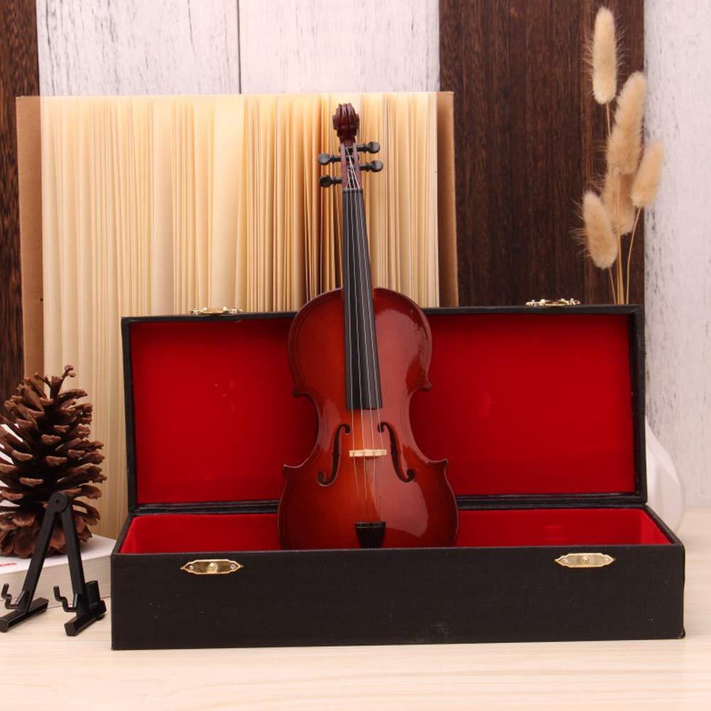 Ocamo Mini Miniature Violin Model Replica with Stand and Case Mini Musical Instrument Ornaments With rectangular box 25CM