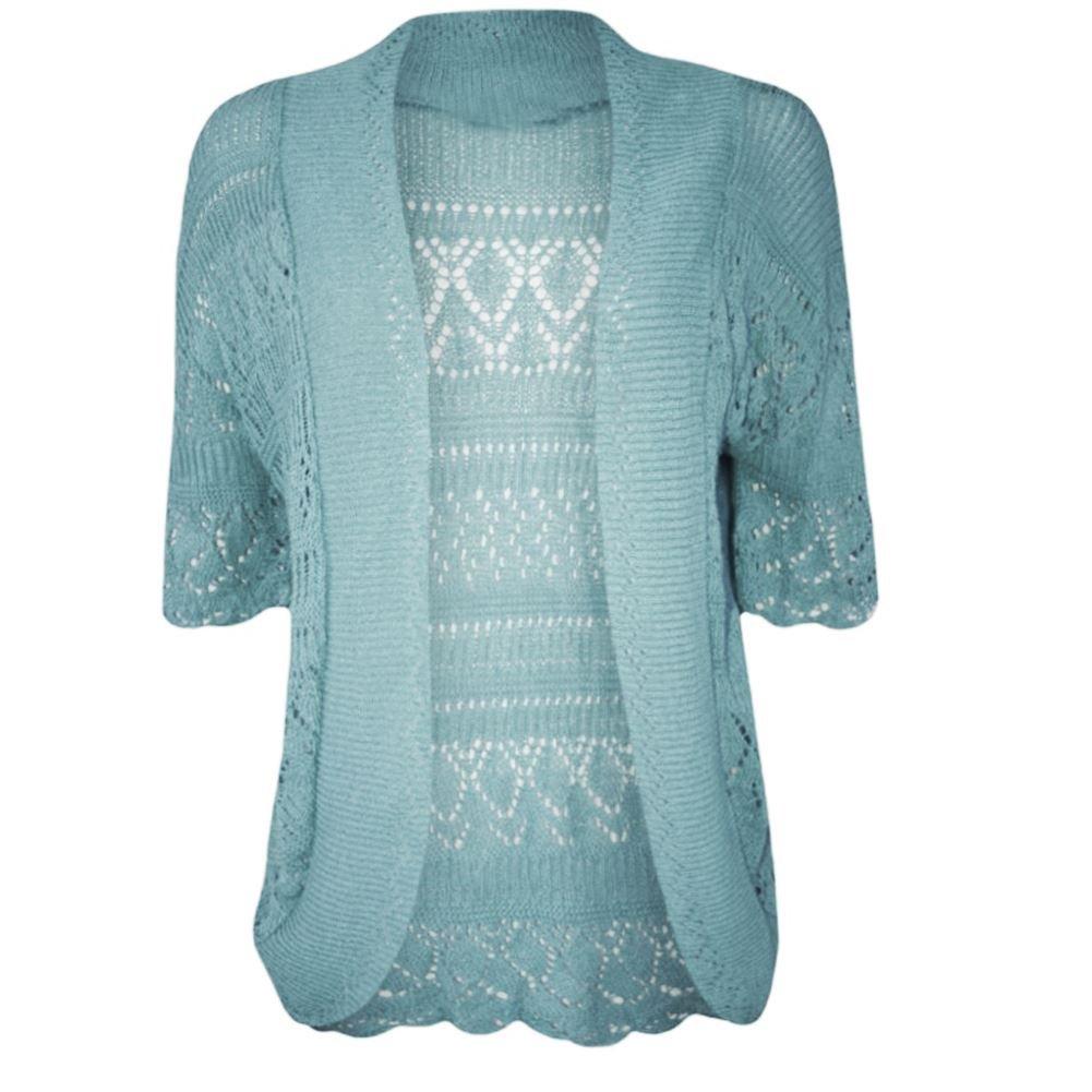 04f4a64653 Janisramone Womens Ladies New Crochet Knitted Bolero Shrug Short Cap Sleeve  Open Cardigan Crop Top at Amazon Women s Clothing store