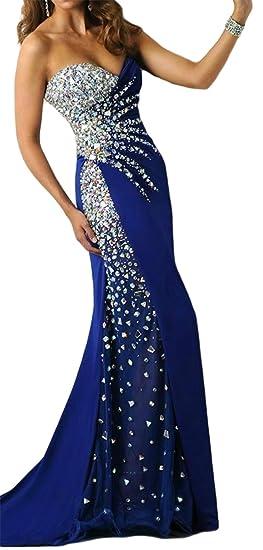 M Bridal Womens Rhinestones Sweetheart Long Illusion Mermaid Formal Prom Dress Royal Blue US Size 2