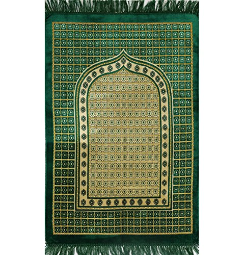 Islamic Prayer Mat Janamaz Sajjadah Muslim Turkish Sajda Velvet Lattice (Dark Green) by Modefa