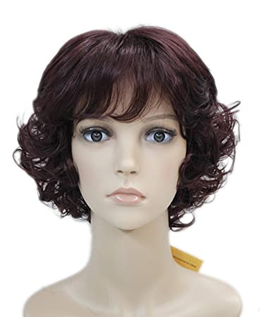 Short Curly Fluffy Women Ladies Natural Daily Hair Synthetic wig Hivision #TypeE (Dark Cranberry