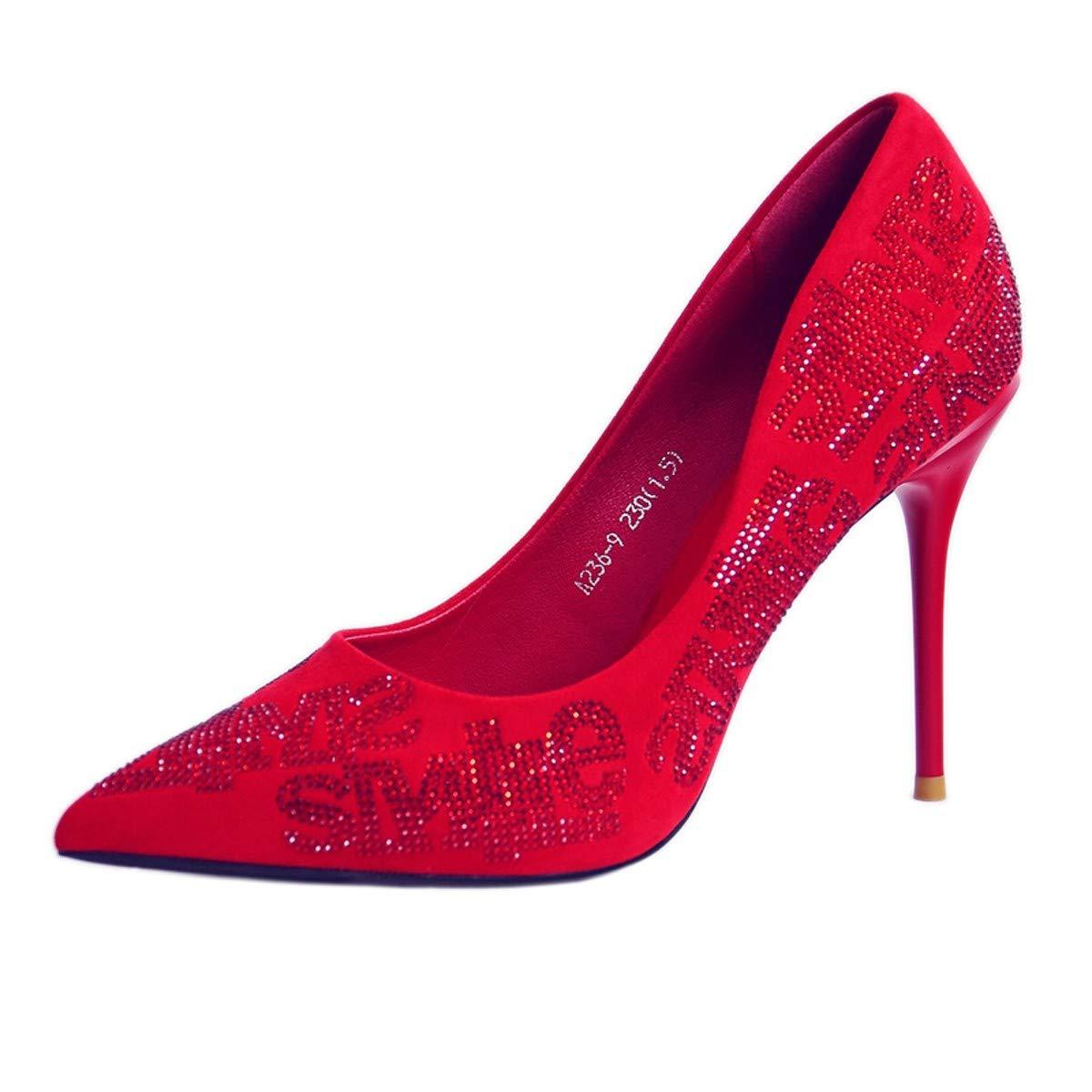 Gules Thirty-seven GTVERNH-Le Forage de 10 cm de Talon l'eau Les Femmes Bien des Talons Pointu Sexy rouge Chaussures de Mariage Mariage fête des Chaussures