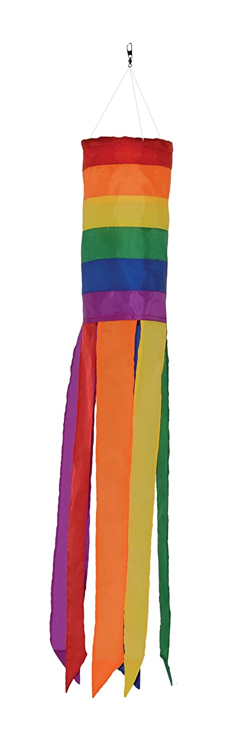 In the Breeze Rainbow Column - 24 Inch Windsock - Colorful Hanging Decoration - Red, Orange, Yellow, Green, Blue, Purple
