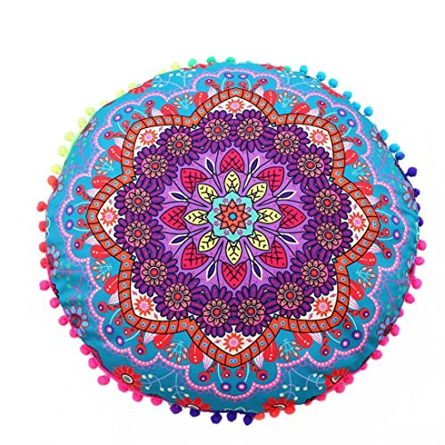 Reading Cover - Throw Pillow Case,Woaills Indian Mandala Floor Round Bohemian Cushion Covers Diameter 17 Inches (D)