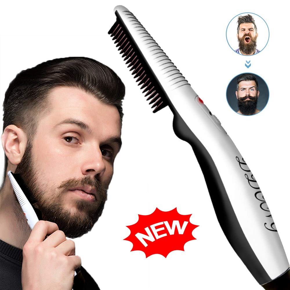 Beard Straightener Comb,Quick Electric Heated Beard Brush Beard Styler for Men, Travel Portable Styling Comb beard iron, Multifunctional Hair Straightening Brush by DDONG