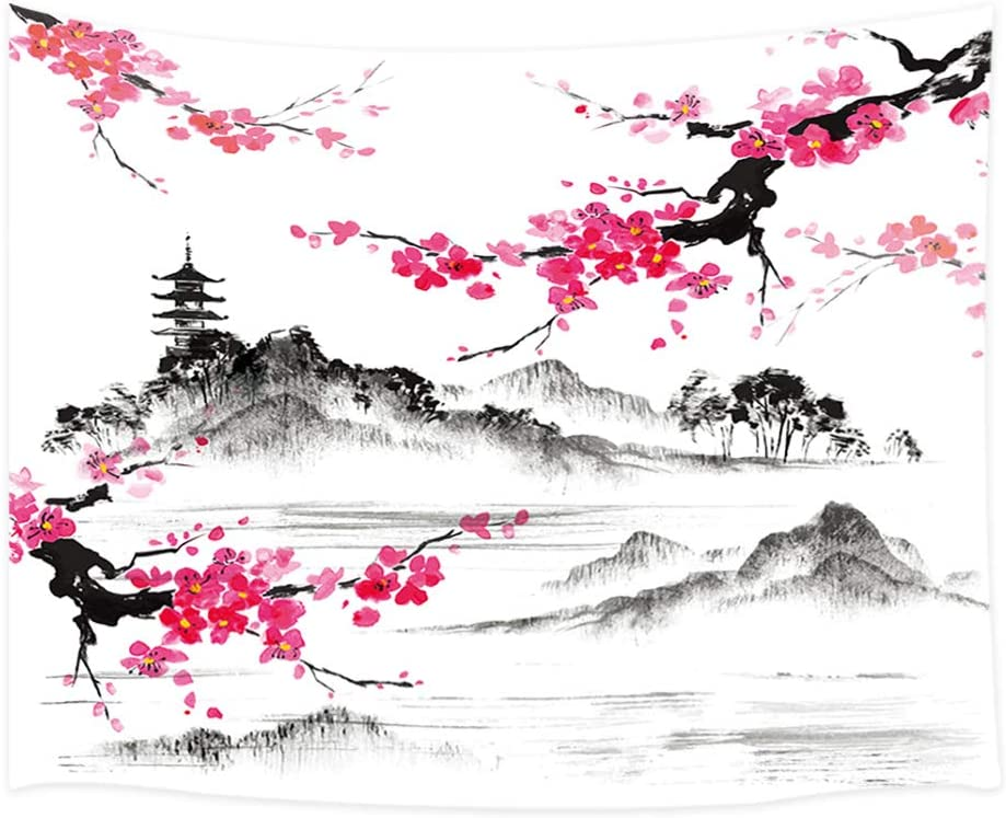 Japanese Watercolor Spring Tapestry Wall Hanging, Mount Fuji with Cherry Blossoms Sakura Flower Wall Tapestry Art for Home Decorations Dorm Decor Living Room Bedroom Bedspread, Wall Blanket, (80X60in)