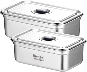 Stainless-steel Food Storage Container Set - Kacierr Rectangular Eco-friendly Airtight Reuseable Snack Container Leakproof Nested Food Storage Box Set (2 Pcs Set)