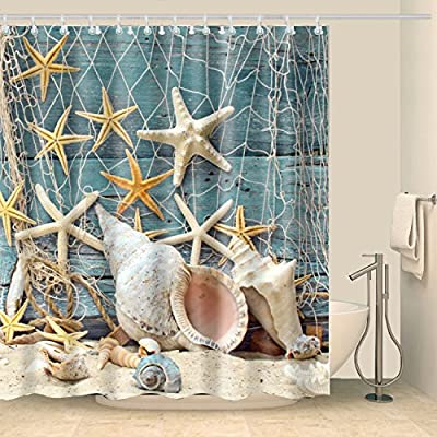 ABxinyoule Seashell Conch Starfish Shell Shower Curtain Set Fishing Nets Beach Ocean Wooden Dock Fabric Bathroom. - Beach Seashell Shower Curtain Size: 69(W )x 72(L)inch (175 x 180 cm) Ocean Conch Starfish Shower Curtain Material:Fabric Polyester Washable Fishing Nets Shower Curtain Fabric in washing machine - shower-curtains, bathroom-linens, bathroom - 61pzmrd QoL. SS400  -