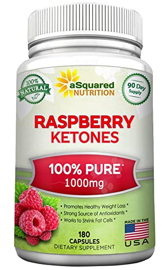 100% Pure Raspberry Ketones 1000mg - 180 Capsules - All Natural Weight Loss  Supplement,