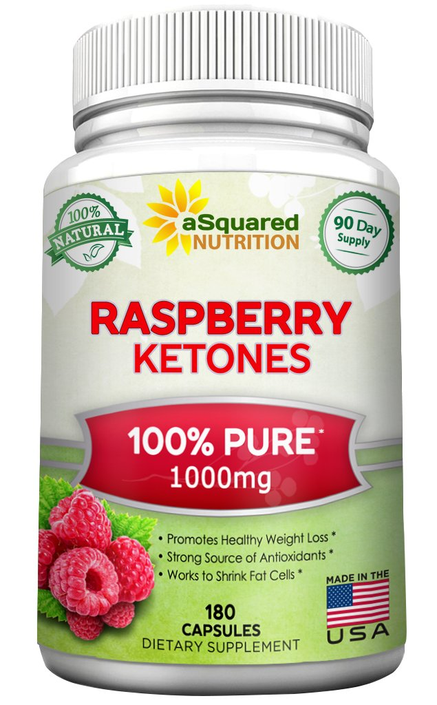 100% Pure Raspberry Ketones 1000mg - 180 Capsules - All Natural Weight Loss Supplement, Max Strength Plus Appetite Suppressant Diet Pills, Premium Lean Health Extract to Boost Energy & Metabolism by aSquared Nutrition