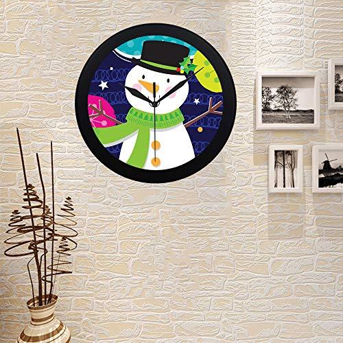 COLORSFORU Custom Holly Jolly Snowman Elegant Black Silver Wall Clock Decor for Office Home Living Room
