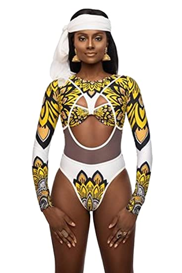Bikini Africano Mujer Traje de Baño 1 Pieza Push Up Beachwear Bikini de baño Conjunto Tankni con Estampado Africano Encubrimiento Bikini Acolchado ...