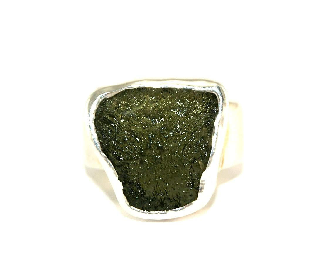 Moldavite Ring - Large - Raw Rough - Polished Sterling Silver - R1809 by Gifts and Guidance
