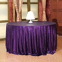 "Eternal Beauty Sequin Tablecloth, Sequin Table Linen (120"" Round, Purple)"
