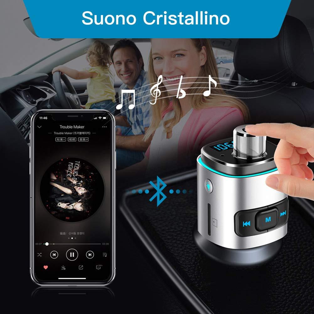 Soporte USB Activar Siri//Google Aitsite Adaptador de Audio para Autom/óvil Bluetooth Transmisor FM con Rotar Volumen y Luz Colorida Hablar con ManosLibres Transmisor Bluetooth para Autom/óvil