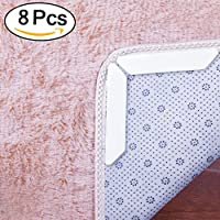 AMILE Rug Grippers, 8pcs Premium Anti Curling Rug Gripper Non Slip Rug Pads with Renewable Tape, Ideal Non Slip Rug Pad for Your Rug