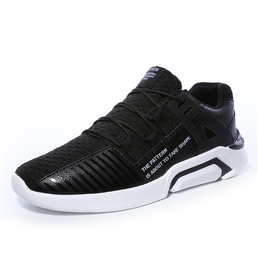 KUBUA Mens Running Shoes Indoor and Outdoor Sport Athietic Fitness Fashion Sneaker Casual White Black B075H6PJHM EU 42 / 8.5 D(M) US|B Black