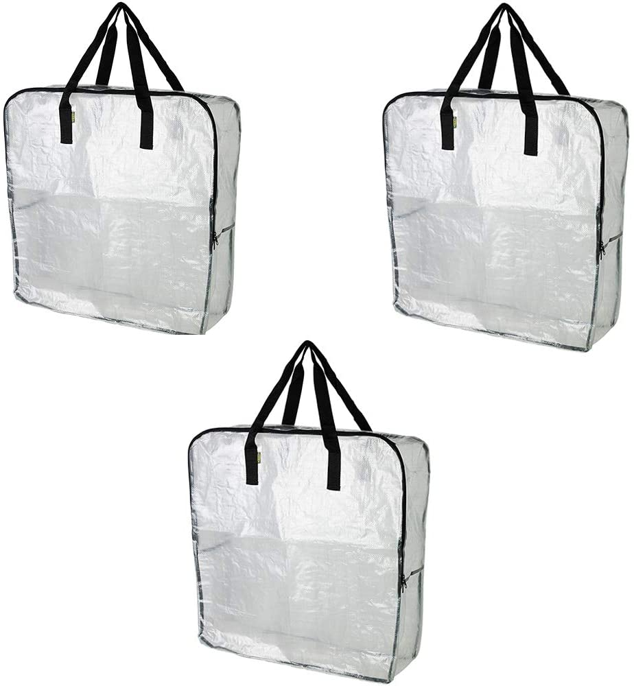Pack Of 3 Extra Large Clear Storage Bag For Clothing Storage Under The Bed Storage Garage Storage Recycling Bags Kitchen Dining