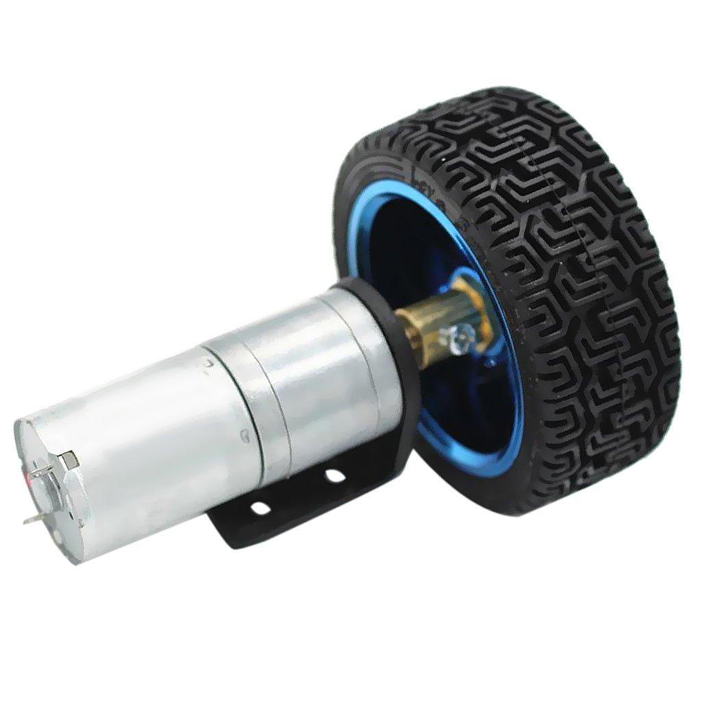 12V 170RPM MagiDeal Silber 25GA370 DC Gear Box Reducer Elektromotor Mit Rad