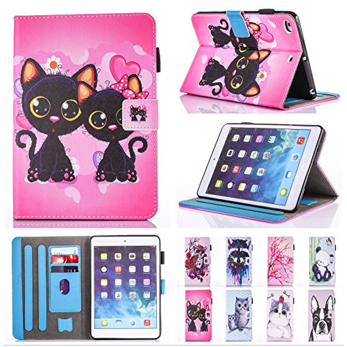 IPad Air / iPad Air 2 /New iPad 9.7 Inch 2017 Case Chgdss [Corner Protection]Auto Wake/Sleep Multi-Angle Viewing Folio Stand Cover/Card Slots, for Apple iPad 9.7(2017)/iPad Air 1 2-Two Black Cats