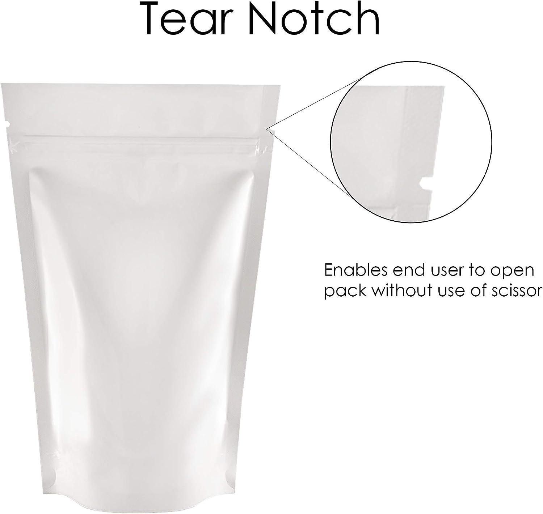 5cm Rightpak blu lucido alluminio stand Up tasche con cerniera e richiudibile tear notch per imballaggi alimentari 100QTY SP1-8cm x 13cm