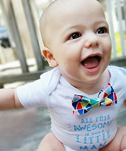d2ee8665c Amazon.com: Cute Baby Boy Outfits with Sayings All This Awesome In Such a  Little Man with Colorful Geometric Bow Tie: Handmade